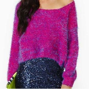 Nasty Gal Cropped Knit Fuzzy sweater